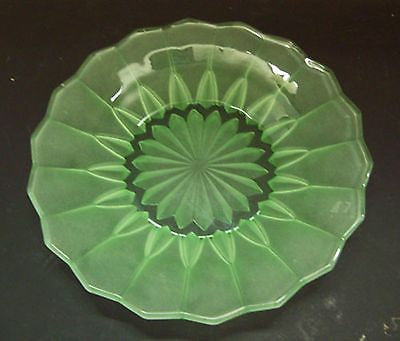 ART Deco GREEN Satin GLASS Display PLATE DISH Starburst Vintage Platter Footed