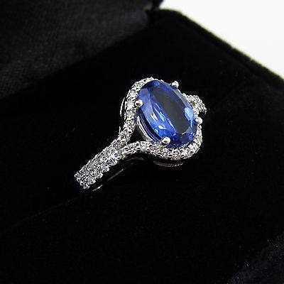 1.33 ct OVAL CUT TANZANITE RING Custom Design 14K WHITE GOLD + .48 tcw DIAMONDS