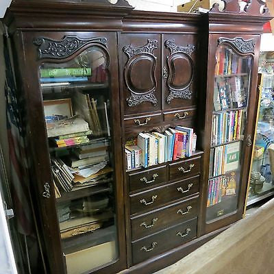 MAPLE & CO Antique VICTORIAN CARVED MAHOGANY BOOKCASE Wardrobe Drawers ARMOIRE
