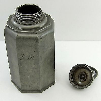 PEWTER WATER BOTTLE/FLASK Antique OCTAGONAL CANNISTER Schraubflasche GERMANY