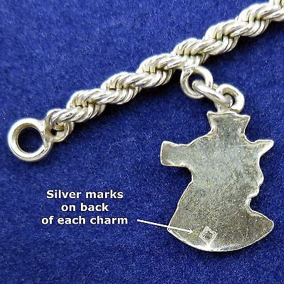"EGYPTIAN 9 CHARM BRACELET Vintage 8"" STERLING 925 CHAIN + 800 SILVER CHARMS"