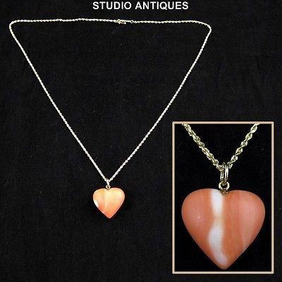14K YELLOW GOLD CHAIN w/ Synthetic Coral HEART PENDANT Fashion NECKLACE Jewelry