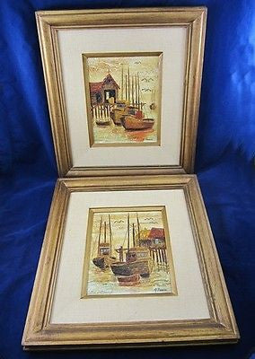 2 Vintage PALETTE KNIFE PAINTINGS Harbor BOAT Ship Hermosa Beach Jerry FREESE