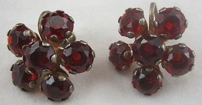 Vintage STERLING SILVER EARRINGS Red Glass Stone Mounting Mount Screw Back Clasp