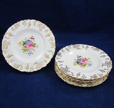 6 ROYAL CROWN DERBY VINE Pattern BREAD & BUTTER PLATES  Porcelain C1930 England