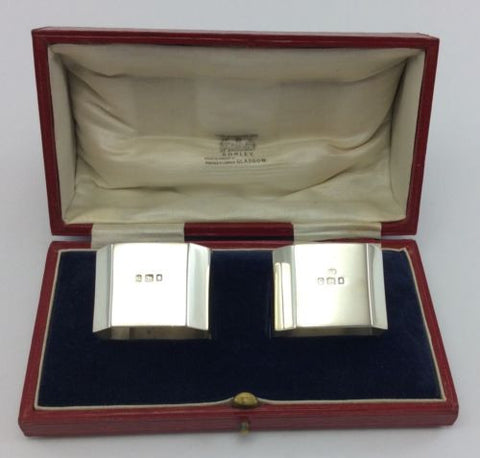 JOSIAH WILLIAMS Antique 1922 STERLING SILVER NAPKIN RINGS Cased/Boxed LONDON