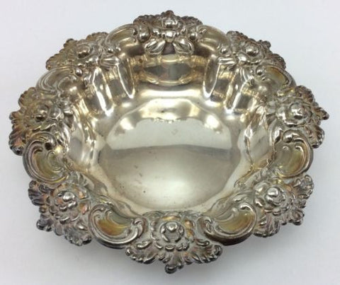 FRANK M. WHITING #394 Antique STERLING SILVER BOWL Repousse Floral Dish 92 Grams
