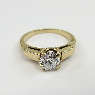 14K YELLOW GOLD + CZ Vintage Size 5.25 ENGAGEMENT RING Nice Setting ART DECO