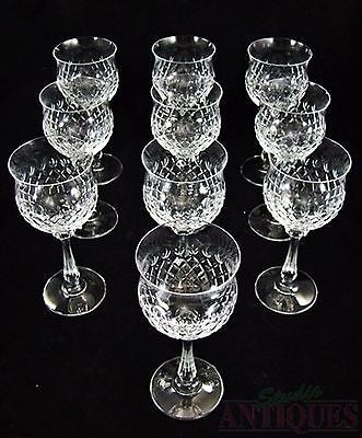 CRYSTAL Set of 10 WINE GLASSES Stemware ROSE BLUSH Glass Lot GOBLET STEM Diamond