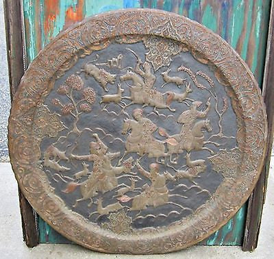 Antique ARAB BRASS COPPER WALL HANGING Hunting Scene Animals Horses Swords Bows