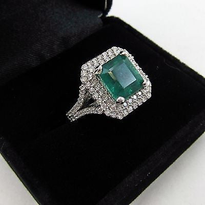 4.5 ct EMERALD RING Custom Designed 18K WHITE GOLD w/ 1.75 ct DIAMONDS Size 6.5