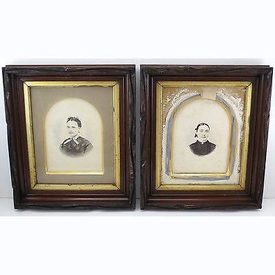 2 ARTS & CRAFTS Antique c.1880 MAHOGANY PICTURE FRAMES Carved Wood & Gilded