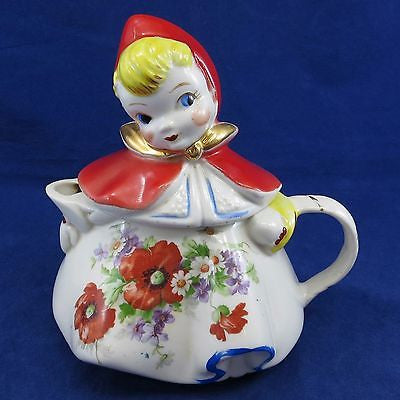 HULL Vintage LITTLE RED RIDING HOOD TEAPOT With LID Floral Flowers GOLD TRIM