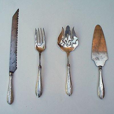 4 WEBSTER Sterling Silver SERVING SET FLATWARE 2 Forks Pie Server Knife