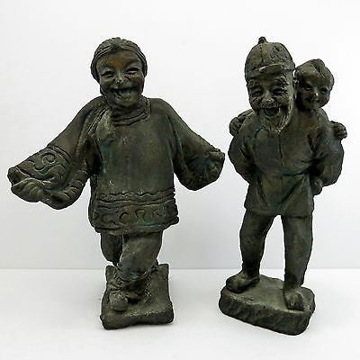 2 LATE 19th/EARLY REPUBLIC Antique CHINESE CLAY FIGURINES Man Woman Child Statue