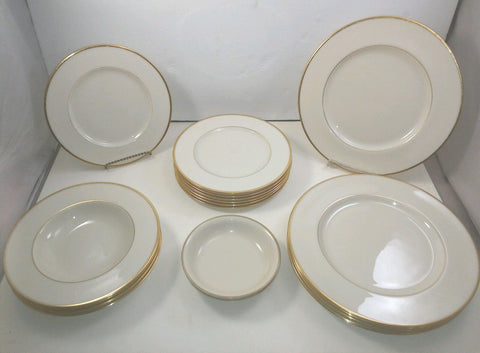 LENOX MANSFIELD 19 Pc DINNER And Salad Plate Set W SOUP And Fruit/Dessert Bowls