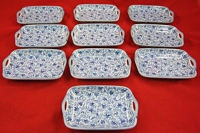 Vintage ASIAN CHINESE CERAMIC BREAD TRAYS Floral Pattern Handle Transferware