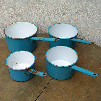 4 BRITISH MONARCH Vintage ENAMELWARE Pot Pans SAUCE PAN
