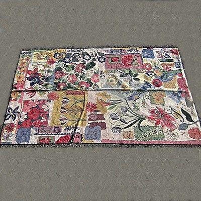 Modern Floral Collage Woven Wool Area Rug Floor Coverings Home Decor