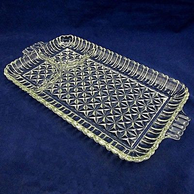 Vintage Rectangular Party Platters Pressed Glass Vertical Rib&Square Facets 10pc