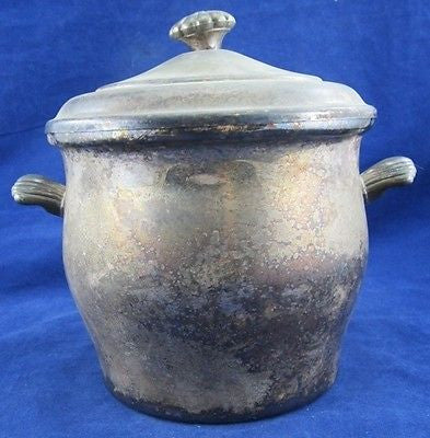 Antique Silver Plate ICE BUCKET WM Rogers Glass Interior Silverplate Scalloped
