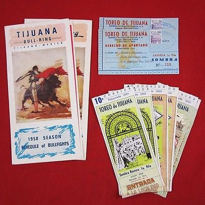 1958 BULLFIGHTING PROGRAM Schedule TICKETS RESERVATION CARD Tijuana Mexico Toreo