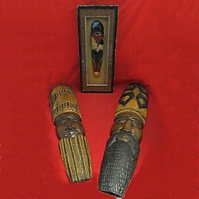 Wood Carvings Africa Style Masks Mixed Lot 3 Pieces Contemporary Craft Artworks