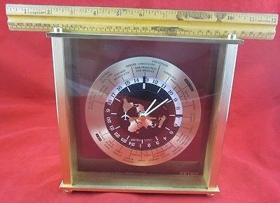 Vintage 1980s SHELF MANTEL SEIKO QUARTZ WORLD CLOCK Time International Date Line