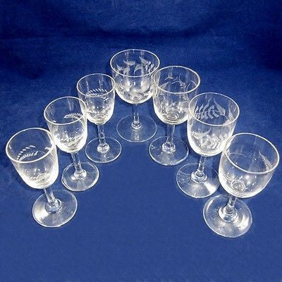 Antique Victorian Sherry/Port Cordial Glasses Wheel Cut Fern pattern 7pcs Mixed