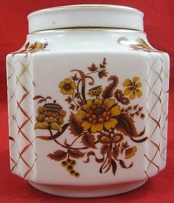 Vintage CERAMIC TEA SERVICE CONTAINER Floral Decoration SADLER England Gold Tone