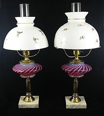 2 CRANBERRY Glass Swirled Electric Oil TABLE Lamp LIGHT