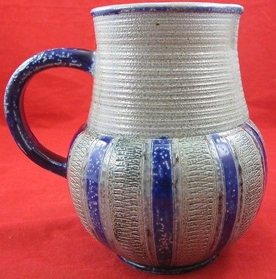 Vintage CERAMIC PITCHER Gray Clay Body Cobalt Blue Glaze Handle Wet Bottom Fired