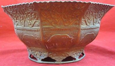 Antique BRASS BOWL Elephant Relief Footed Base Hand Decorated Patina Engraved