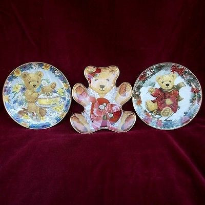 "Franklin Mint Heirloom Collection Plates 3pc Lot Sarah Bengry ""TEDDY"" Series"