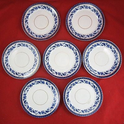 7 Antique BRIDGWOOD China TEA PLATES English Gold Luster BLUE SNAIL & BUTTERFLY