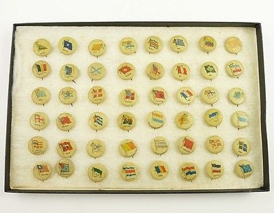 Antique 48 FLAG Pinbacks SWEET CAPORAL 1896 Cigarette BUTTON PIN Country Lot