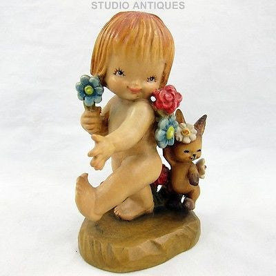 "ANRI NATURE GIRL Vintage 5"" JUAN FERRANDIZ Wood Figurine YOUNG GIRL & RABBIT"