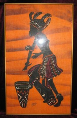 AFRICAN ART Fabric PAINTING of FIRE DANCER Drummer