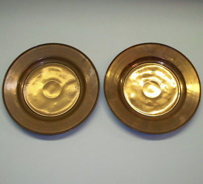 2 Antique ARTS CRAFTS Mission COPPER PLATES Tray DISHES