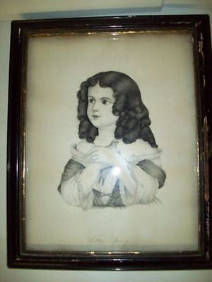 """Little JENNY"" ANTIQUE Hand DRAWING of GIRL & Dove BIRD"