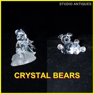 2 ASFOUR CRYSTAL FIGURINES Diamond Cut Glass BEAR EATS FISH 663/17 CHUBBY 642/30