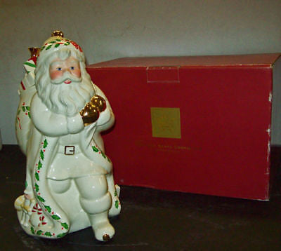 LENOX China MILLENIUM Cookie JAR Santa CLAUS 1999 XMAS