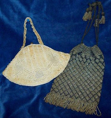 ANTIQUE Belgium BEADED Purses VINTAGE Draw Cord PURSE