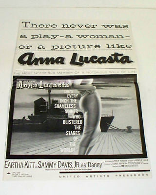 ANNA LUCASTA 1959 Movie Film PRESSBOOK Sammy Davis Jr
