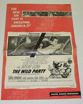 THE WILD PARTY 1956 Movie Film PRESSBOOK Anthony Quinn