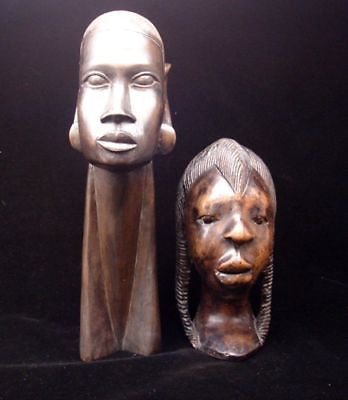 TRIBAL ART Carved Hardwood Tribes persons Heads two