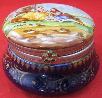 Antique Hand Painted CERAMIC MOSER JAR TRINKET Brass Hinge Chinapaint Sevres