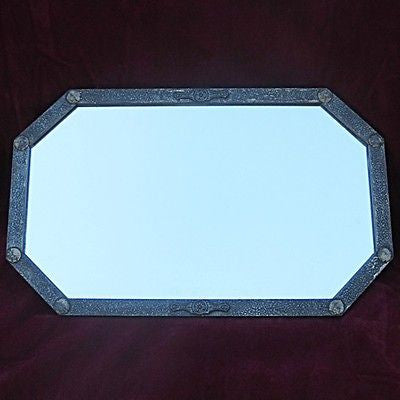 Vintage Elongated Octagon Mirror with Faux Textured Metal Bar Finish & Rivets
