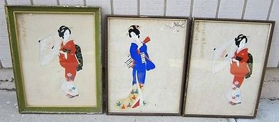 Vintage JAPANESE SILK PAINTINGS TRADITIONAL JAPAN Wood Frame Glass Women Kimono