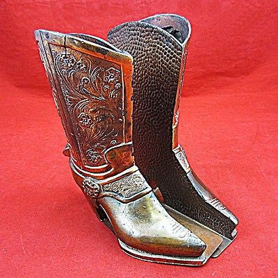 Vintage COPPER CLAD Cast Metal Southwest Style Cowboy Boot Bookends